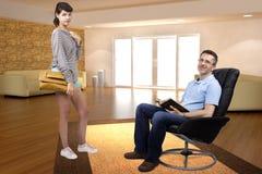Teenage Daughter Saying Bye to Father Royalty Free Stock Image