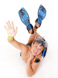 Teenage dressed in diving accessories Royalty Free Stock Images