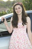 Teenage Driver. A young pretty teenager getting ready to drive Stock Images
