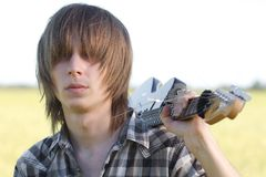 Teenage emo guitar player Royalty Free Stock Photos