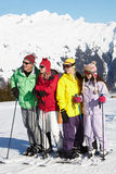 Teenage Family On Ski Holiday Royalty Free Stock Images