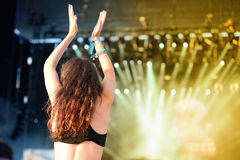 A teenage fan cheering at FIB Festival Royalty Free Stock Image