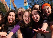 Teenage fans screaming Royalty Free Stock Photography