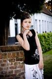 Teenage fashion girl black and white clothes Royalty Free Stock Photo
