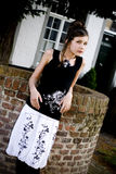 Teenage fashion girl black and white clothes Royalty Free Stock Photos