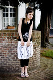 Teenage fashion girl black and white clothes Royalty Free Stock Photo