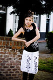 Teenage fashion girl black and white clothes Stock Photo