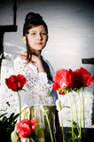 Teenage fashion girl with red poppies Stock Photo