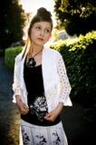 Teenage fashion girl and sun backlight Stock Photography
