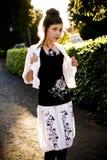 Teenage fashion girl and sun backlight Stock Photos