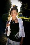 Teenage fashion girl and sun backlight Stock Image