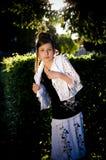 Teenage fashion girl and sun backlight Stock Photo