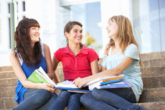 Teenage Female Friends Sitting On College Steps Stock Photography