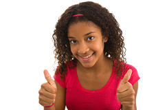 Teenage female giving the thumbs up Royalty Free Stock Photo