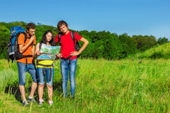 Teenage friends backpacking Stock Photography