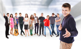 Teenage friends big group Stock Photo