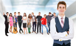 Teenage friends big group Stock Images