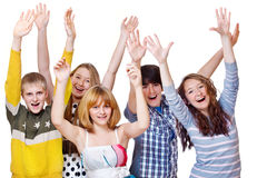 Teenage friends group Stock Photo