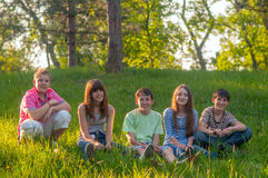 Teenage friends having fun in the nature Stock Images
