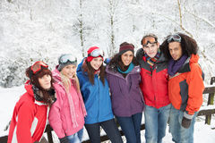 Teenage Friends Having Fun In Snowy Landscape Stock Image