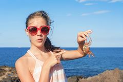 Teenage funny wondering girl holding an atlantic crab on ocean c. Teenage funny wondering glad girl in red sunglasses holding an atlantic crab on ocean coast Royalty Free Stock Image