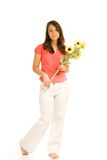Teenage girl. Beautiful teenage girl holding bunch of sunflowers isolated on white background Royalty Free Stock Photos