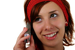 Teenage girl. With a call phone, isolated on white background Stock Image