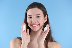 Teenage girl with acne problem royalty free stock photography