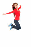 Teenage girl in african hairdo jumping with joy Royalty Free Stock Photos