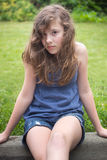 Teenage Girl Against Green Royalty Free Stock Photo
