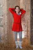 A teenage girl in an ancient abandoned Arab building Royalty Free Stock Images
