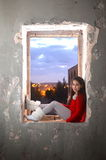 A teenage girl in an ancient abandoned Arab building Stock Photography