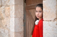 A teenage girl in an ancient abandoned Arab building Stock Photos