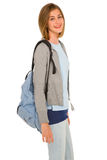 Teenage girl with backpack Stock Photography