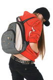Teenage girl, backpack on the back. Teenage girl, backpack on his back, stopt backs Royalty Free Stock Photos