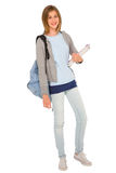 Teenage girl with backpack and books Royalty Free Stock Image