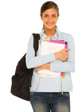 Teenage girl with backpack and books Royalty Free Stock Photography