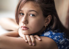 A teenage girl in a bad mood Royalty Free Stock Images