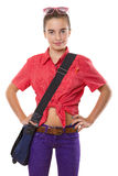 Teenage girl with bag an sunglasses ready to go to school, isola Royalty Free Stock Photos