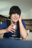 A teenage girl in the bar Royalty Free Stock Photos