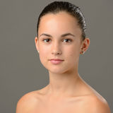Teenage girl bare shoulders skin care beauty Stock Photo