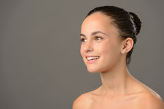Teenage girl bare shoulders skin cosmetics beauty Stock Image
