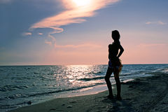 Teenage girl on the beach Royalty Free Stock Photo
