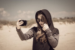 Teenage girl on the beach royalty free stock image
