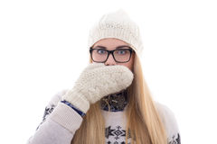 Teenage girl with beautiful long hair in warm winter clothes clo Stock Photo