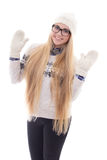 Teenage girl with beautiful long hair in warm winter clothes iso Stock Image
