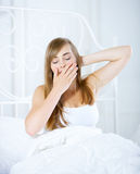Teenage Girl on Bed Royalty Free Stock Image