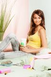 Teenage girl in bed with fast-food coffee Royalty Free Stock Images