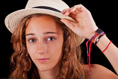 Teenage girl with beige hat Royalty Free Stock Photos