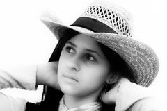 Teenage girl with beige hat Royalty Free Stock Images